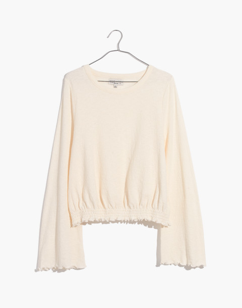 Texture & Thread Smocked Bell-Sleeve Top in bright ivory image 1