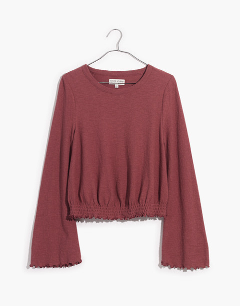 Texture & Thread Smocked Bell-Sleeve Top in autumn berry image 1