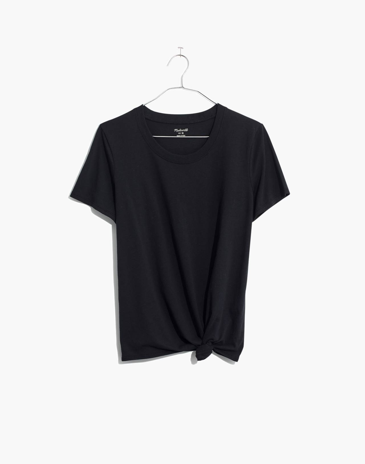 Knot-Front Tee in true black image 4