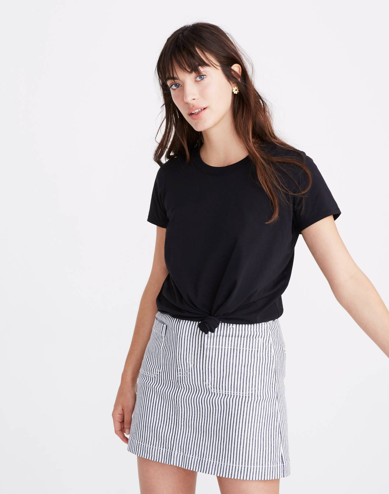 Knot-Front Tee in true black image 1