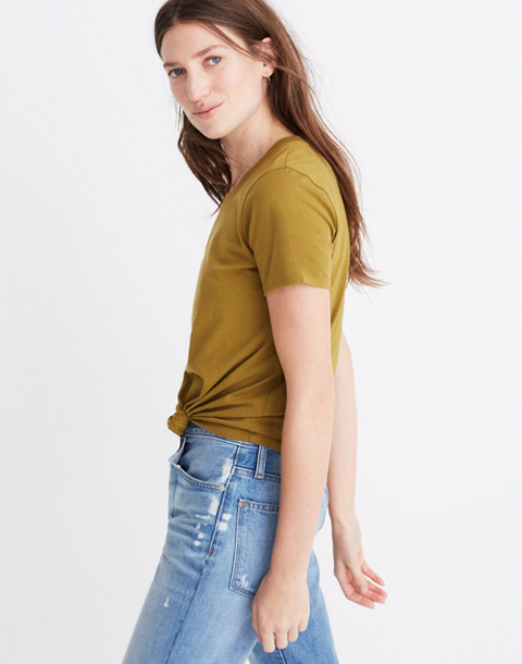 Knot-Front Tee in spiced olive image 2