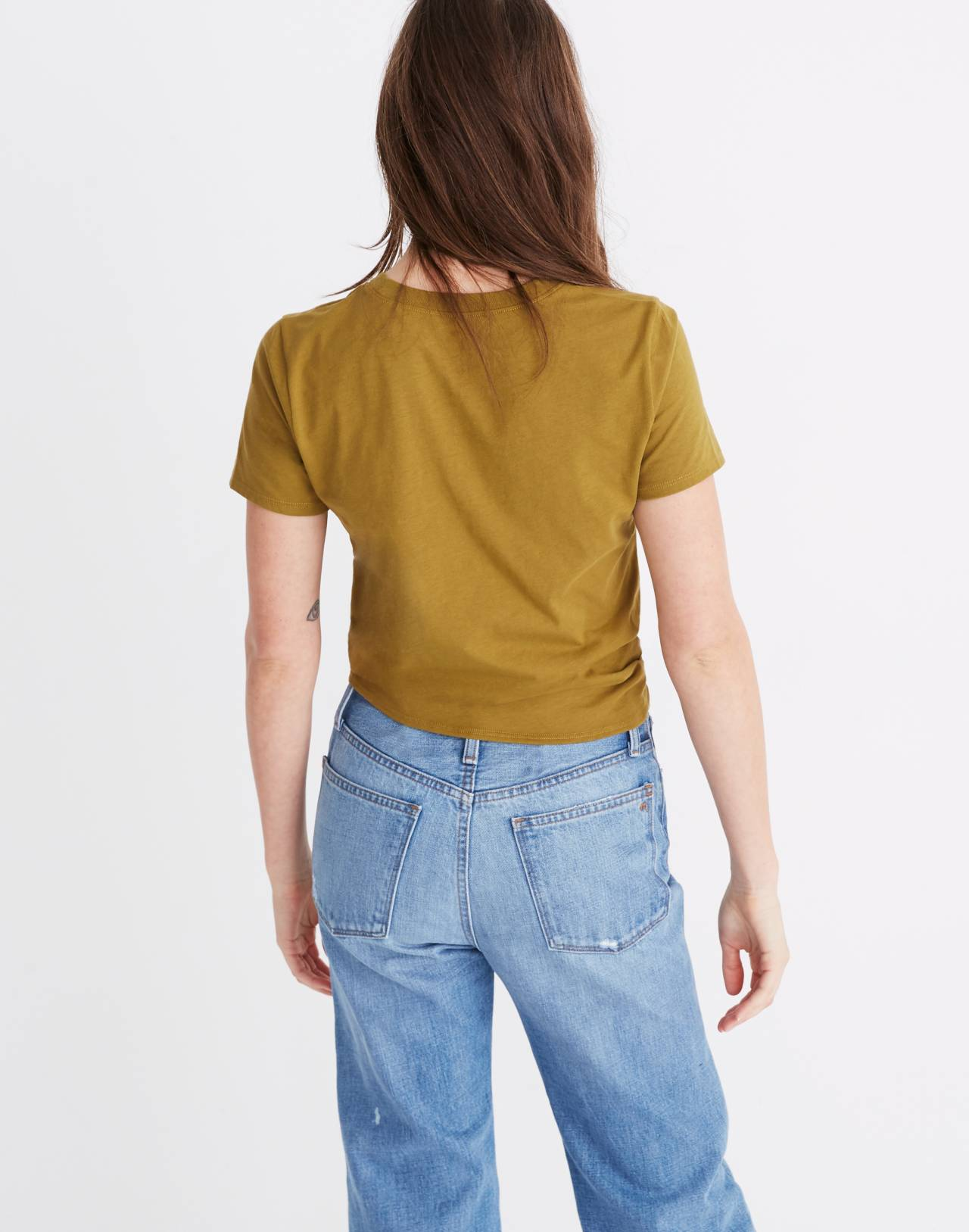 Knot-Front Tee in spiced olive image 3