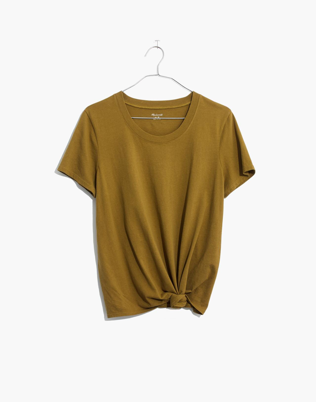 Knot-Front Tee in spiced olive image 4