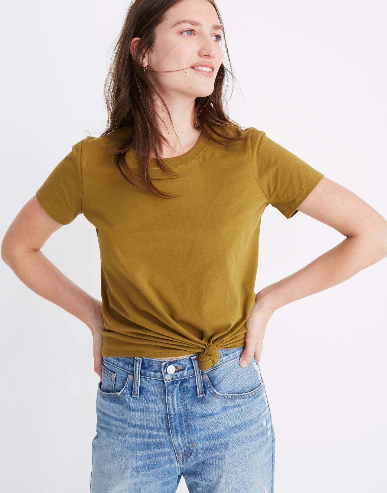 Knot-Front Tee in spiced olive image 1