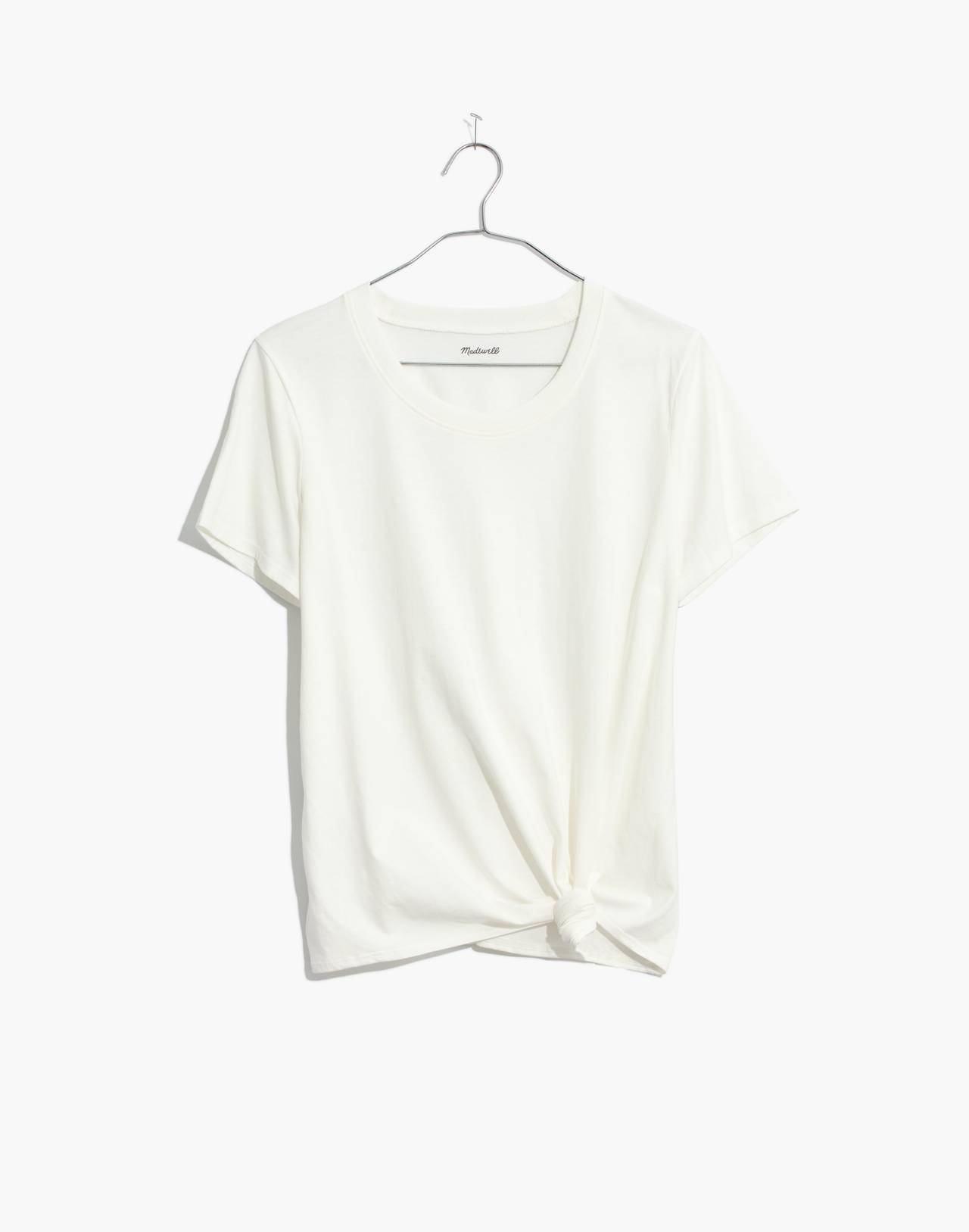 Knot-Front Tee in white wash image 4