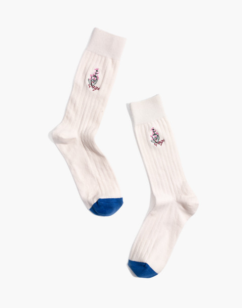 Botanical Trouser Socks in pale parchment multi image 1