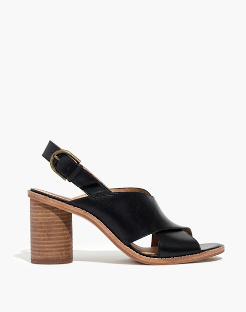 The Ruthie Crisscross Sandal in Leather in true black image 3