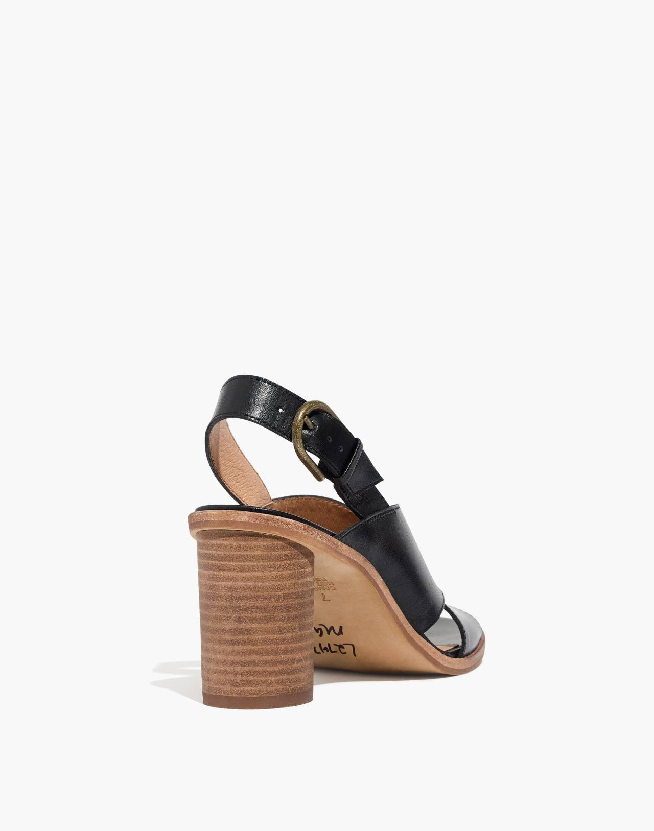 The Ruthie Crisscross Sandal in Leather in true black image 4