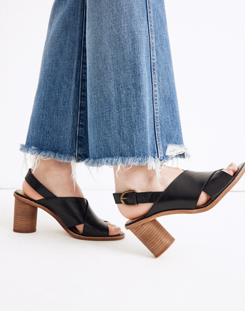 The Ruthie Crisscross Sandal in Leather in true black image 2