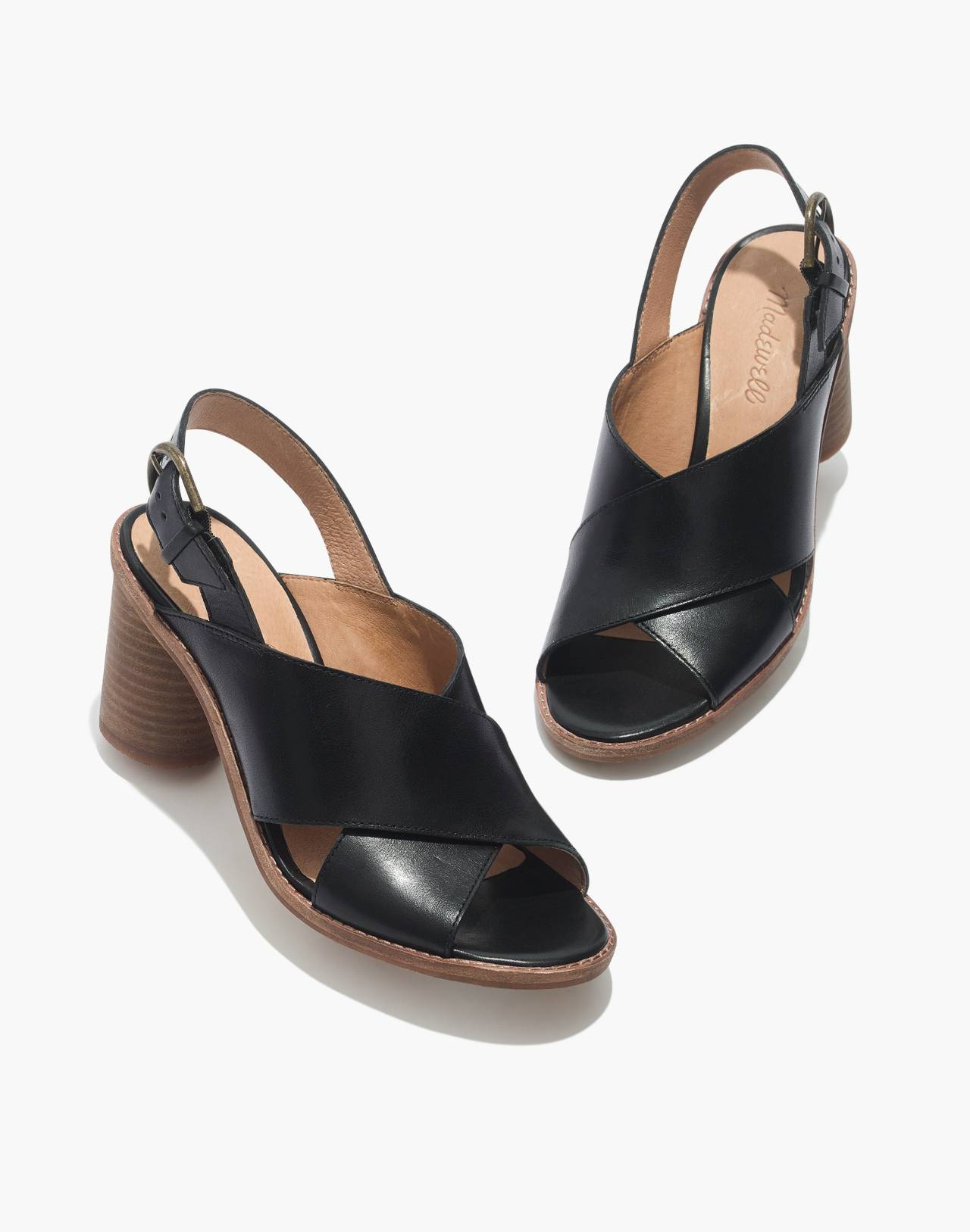 The Ruthie Crisscross Sandal in Leather in true black image 1