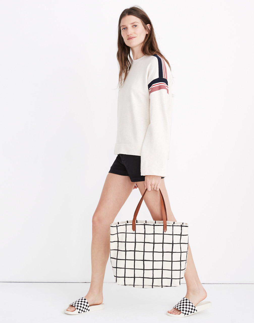Stripe-Inset Varsity Sweatshirt in hthr ivory image 2