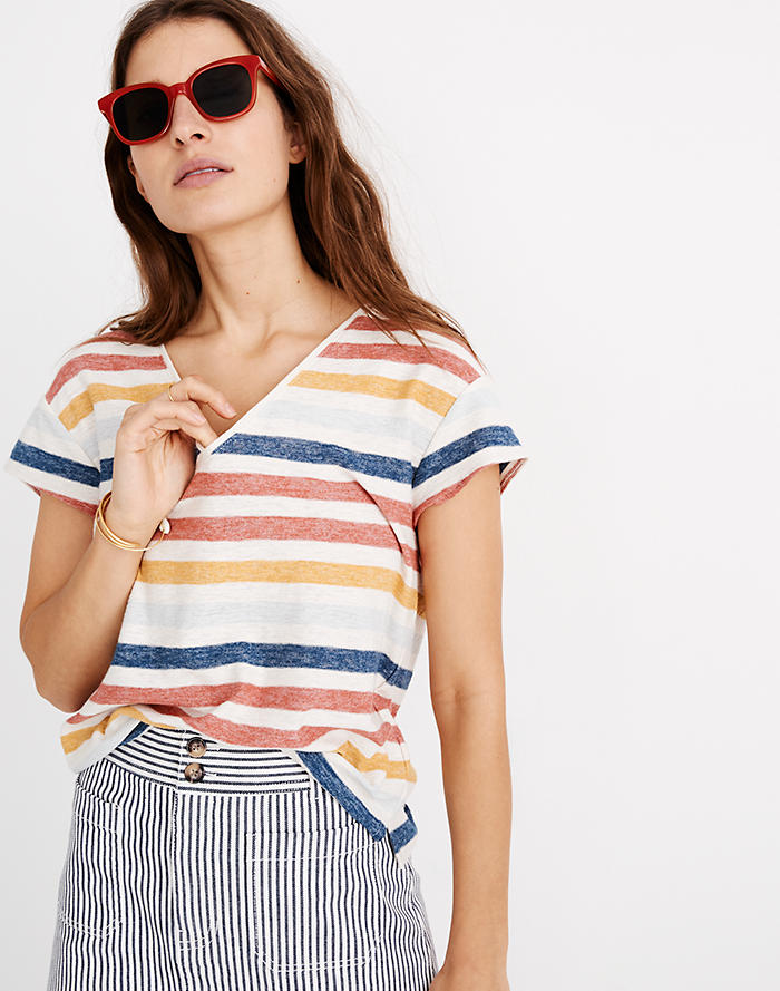 ac55646855187 Skyline V-Neck Tee in Jay Stripe