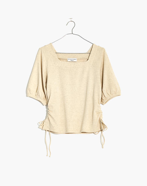 a4734b861a9371 Texture  amp  Thread Square-Neck Cinch Top in pearl ivory ...