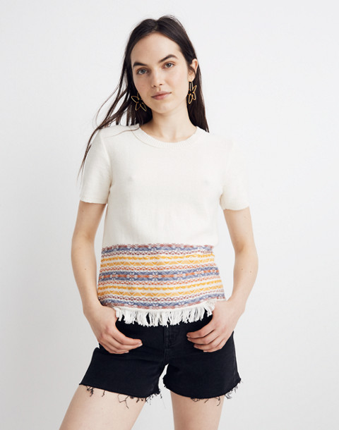 Fringed Jacquard Sweater Tee by Madewell