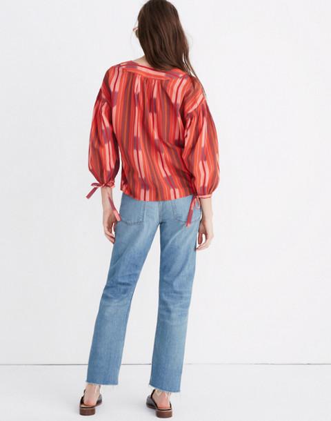 Ikat Peasant Popover Top in ikat stripe coastal orange image 3