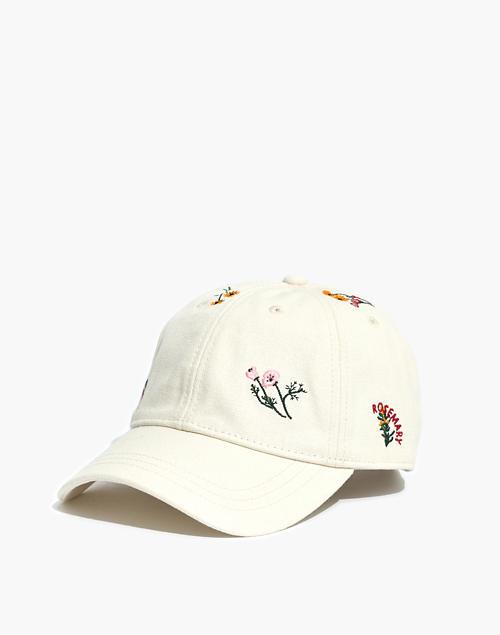 bf96962da3b68b Botanical Embroidered Baseball Cap in antique lace multi image 1