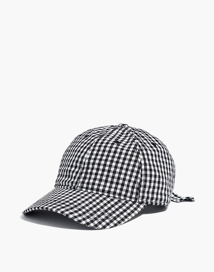 632582bfd13 Gingham Tie-Back Baseball Cap