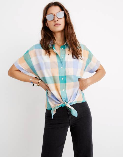 Short Sleeve Tie Front Shirt In Oversized Gingham Check by Madewell