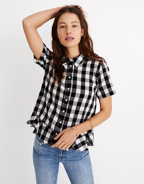 6974592bf3fb49 Peplum Button-Down Shirt in Gingham in true black two size gingham image 1
