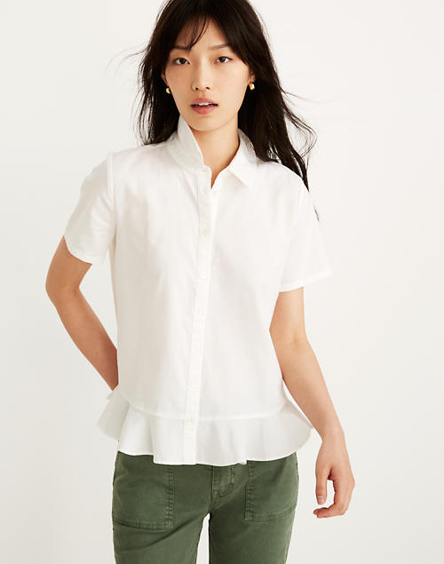 e54c5e95a32923 Peplum Button-Down Shirt in eyelet white image 1