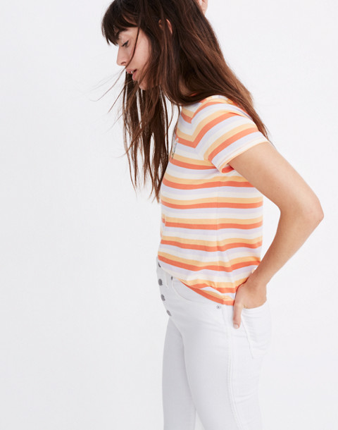 Daisy Embroidered Northside Vintage Tee in Broadway Stripe in peach daisy emb image 2