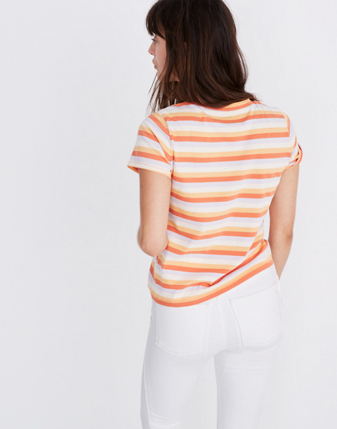 Daisy Embroidered Northside Vintage Tee in Broadway Stripe in peach daisy emb image 3