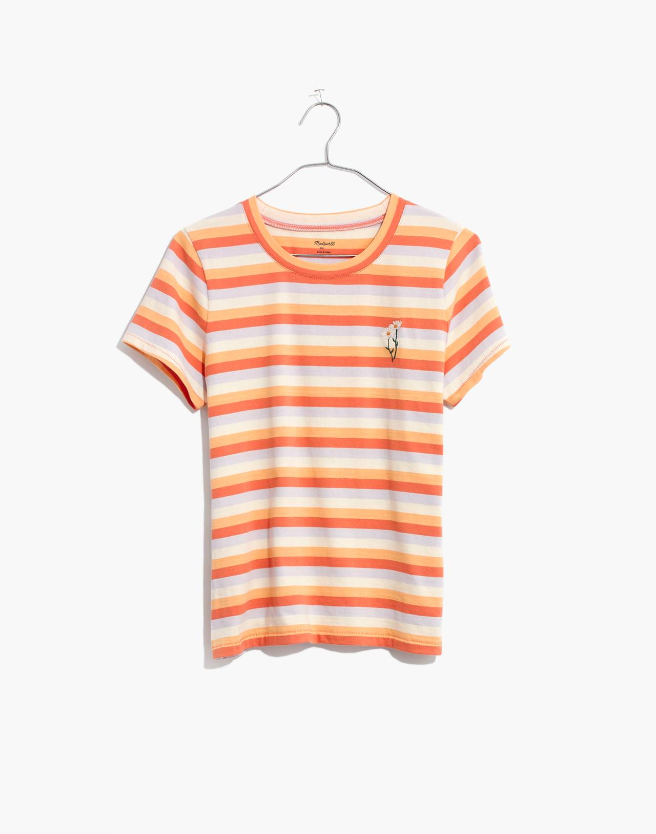 Daisy Embroidered Northside Vintage Tee in Broadway Stripe in peach daisy emb image 4