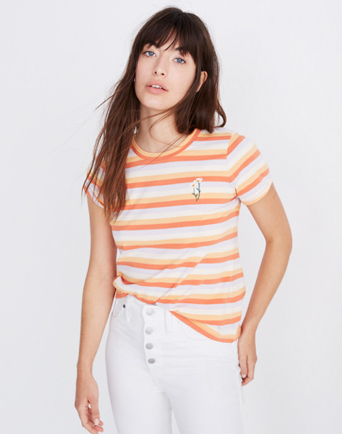 Daisy Embroidered Northside Vintage Tee in Broadway Stripe in peach daisy emb image 1