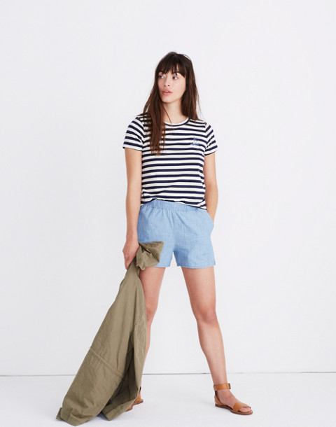 e7467cb7 MADEWELL. LAVENDER EMBROIDERED NORTHSIDE VINTAGE TEE IN BROADWAY STRIPE