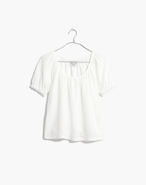 Texture & Thread Peasant Top in bright ivory image 1