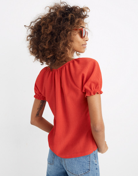 Texture & Thread Peasant Top in enamel red image 3