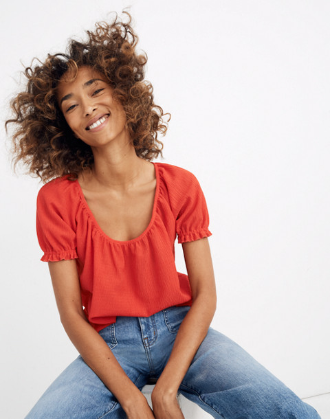 Texture & Thread Peasant Top in enamel red image 1
