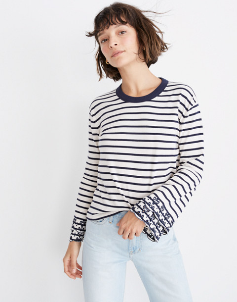 380ea22e1a Shoptagr | Eyelet Embroidered Tier Sleeve Tee In Baker Stripe by ...