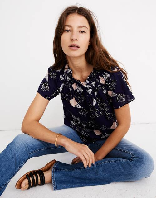 Smocked Mockneck Top In Patchwork Quilt by Madewell