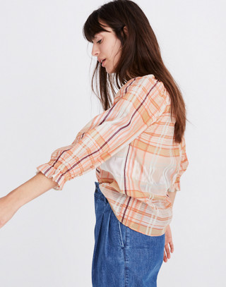 Plaid Tie-Neck Ruffle-Sleeve Top in wilton plaid bashful blush image 2