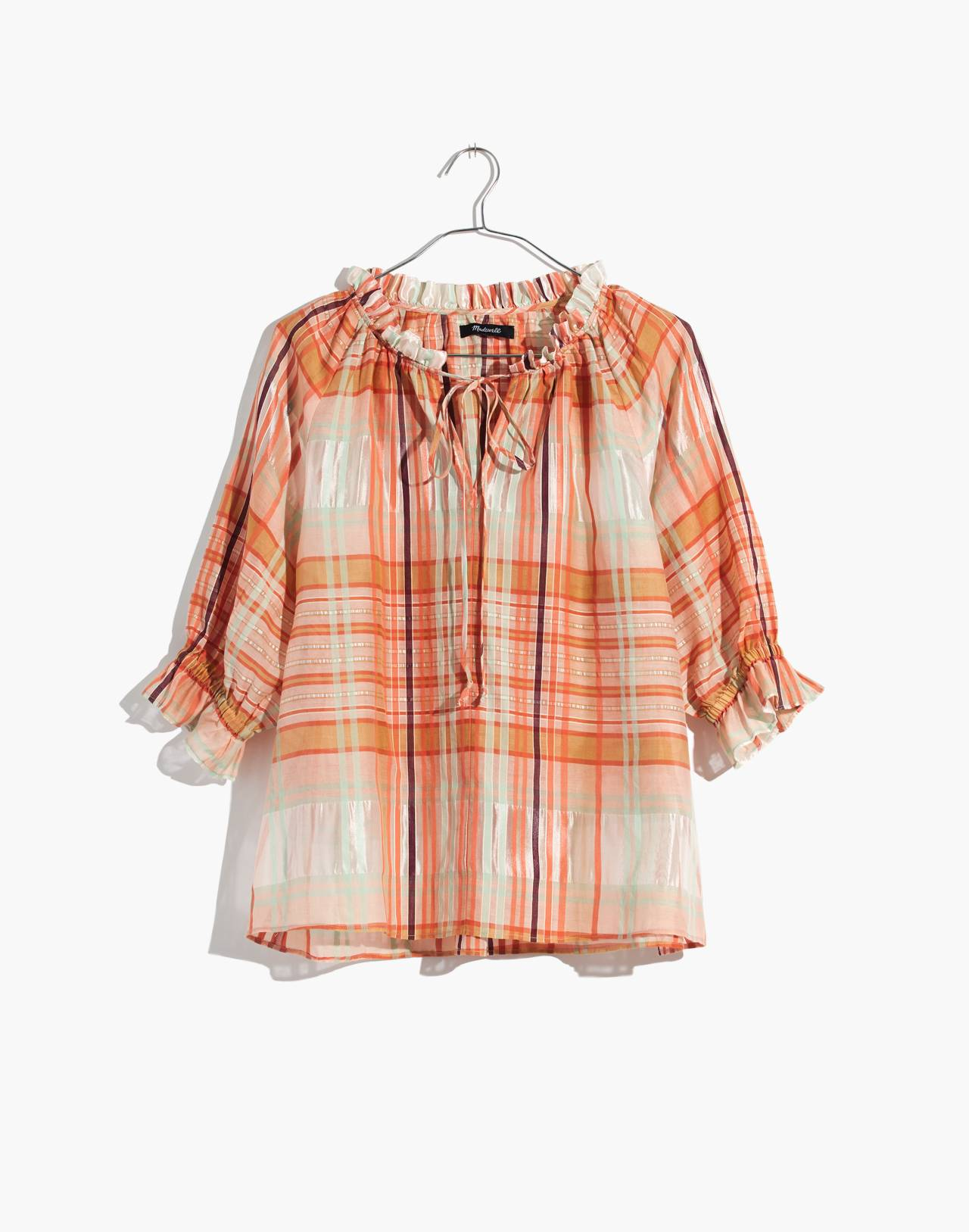 Plaid Tie-Neck Ruffle-Sleeve Top in wilton plaid bashful blush image 4