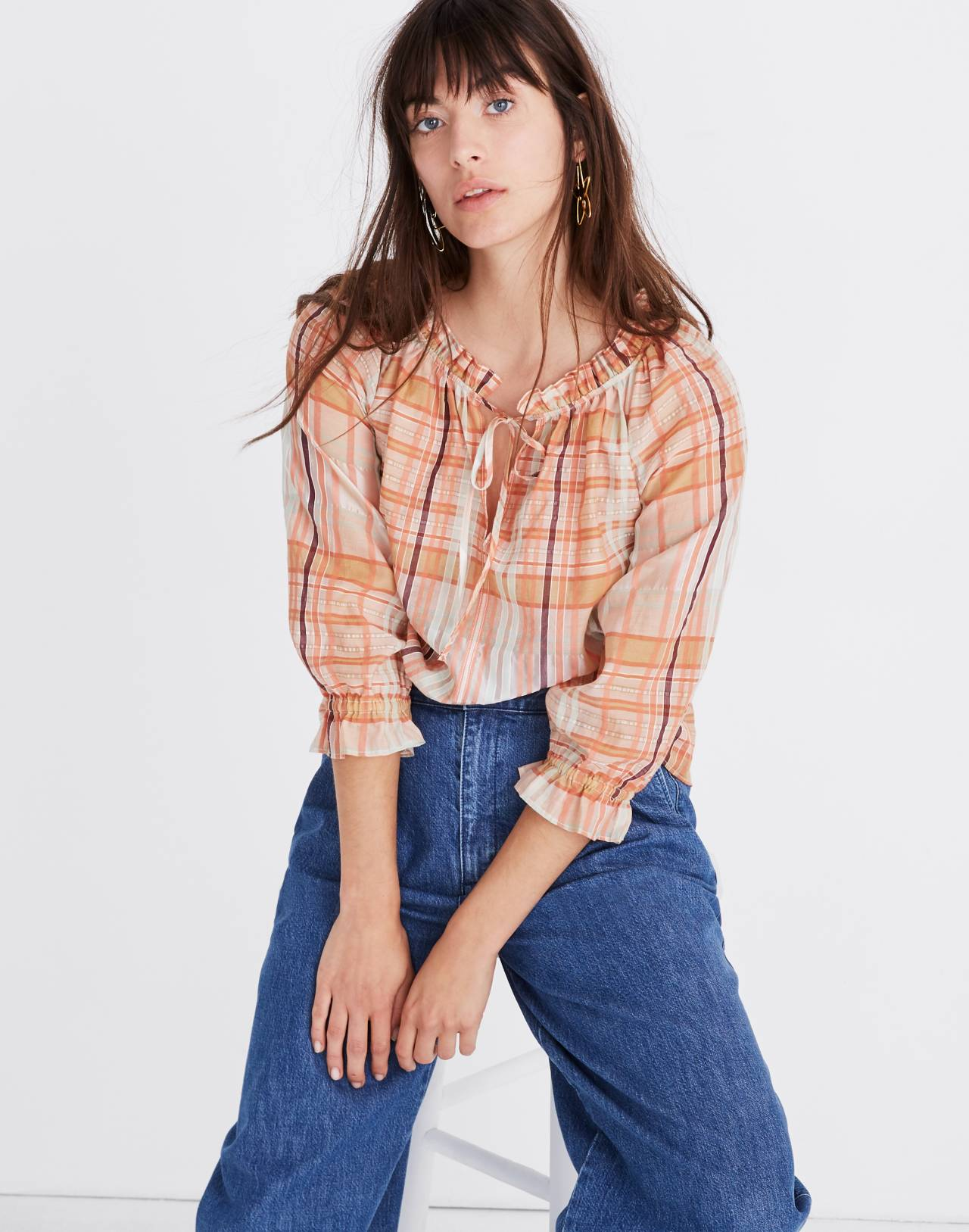 Plaid Tie-Neck Ruffle-Sleeve Top in wilton plaid bashful blush image 1