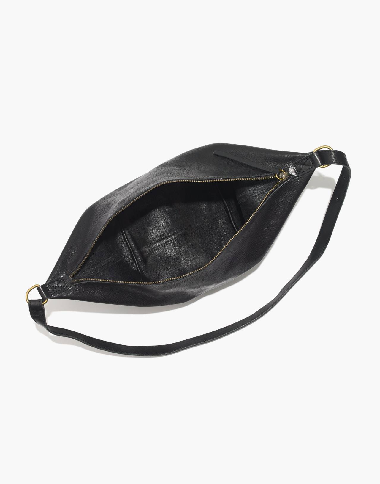The Leather Sling Bag in true black image 3