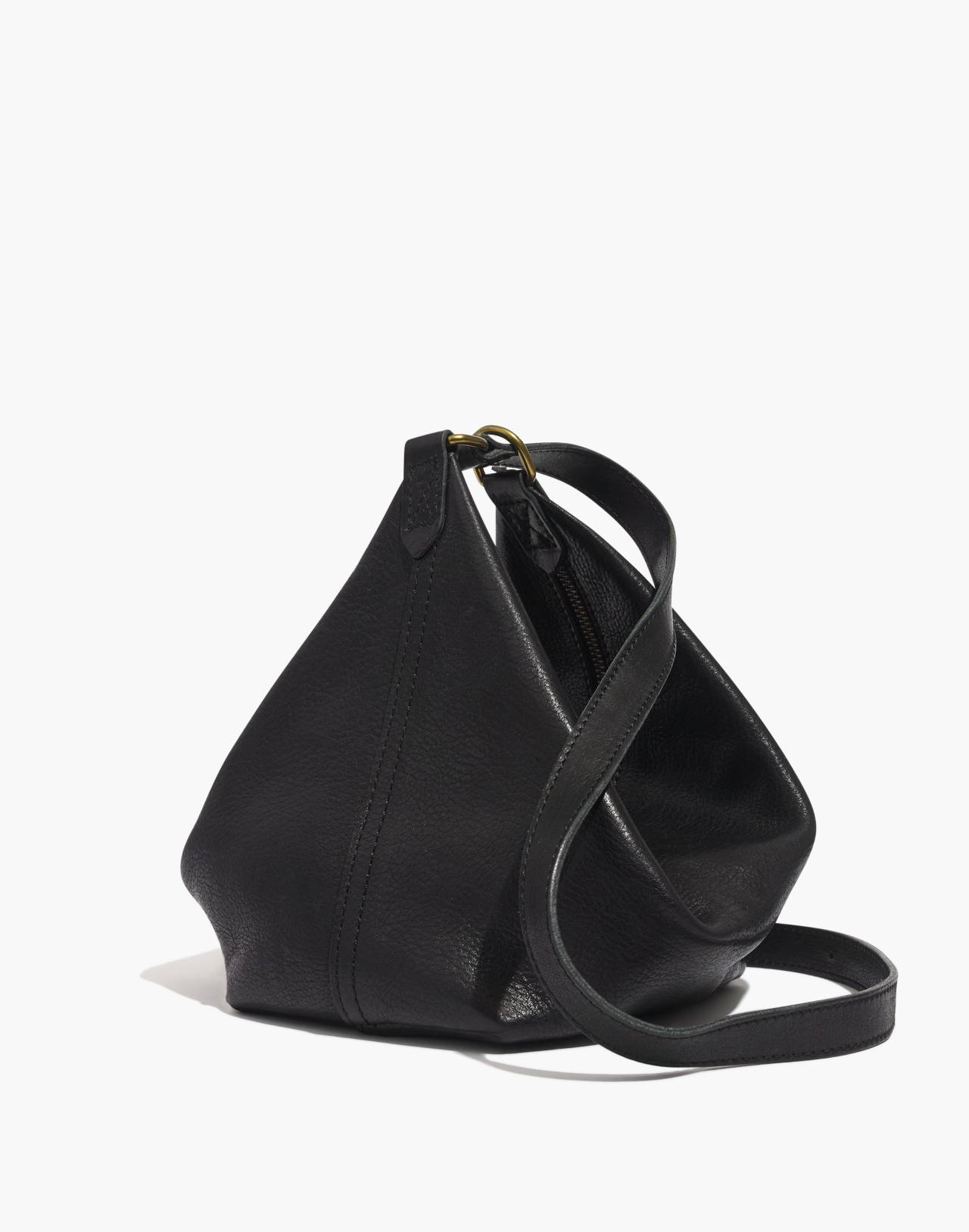 The Leather Sling Bag in true black image 1