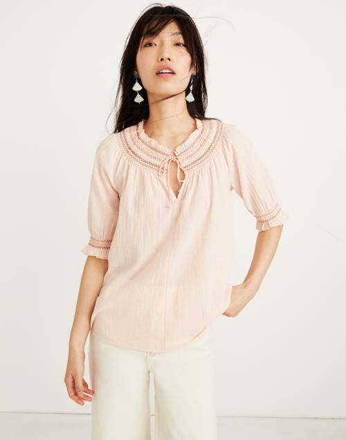 Smocked Peasant Top by Madewell
