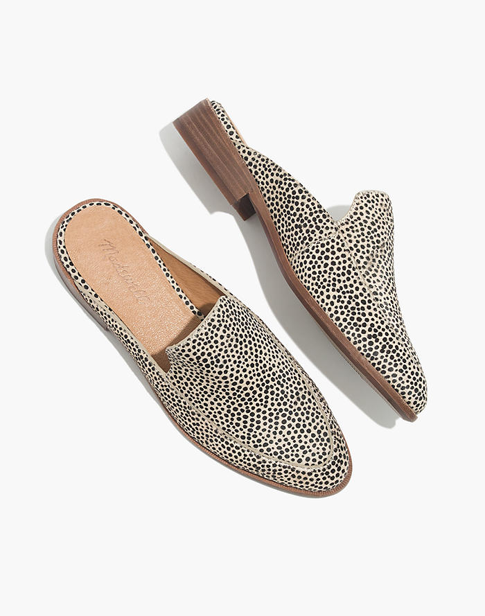 8e3bf3f65e7 The Frances Loafer Mule in Spotted Calf Hair