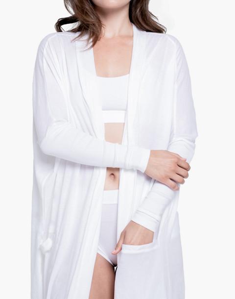 Lunya® Pima Long Cardigan Robe in white image 1