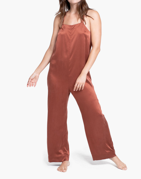 Lunya® Washable Silk Sleep Jumpsuit in copper image 1