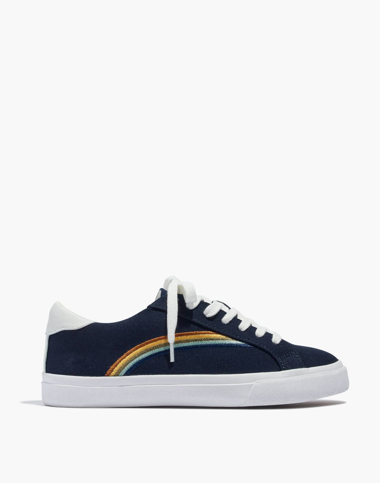 Women's Sidewalk Low-Top Sneakers in Rainbow Embroidered Canvas in deep navy image 3