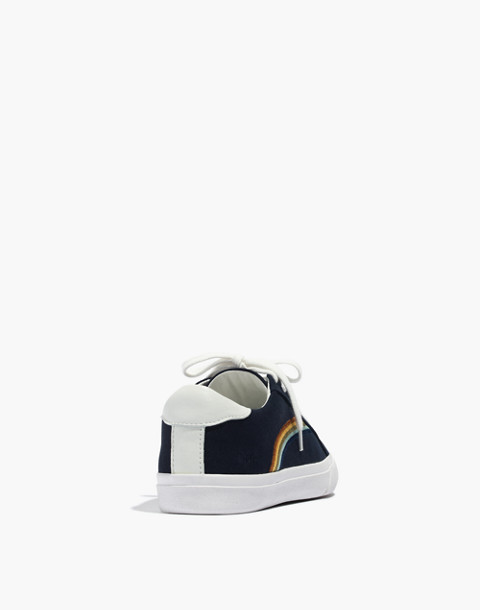 Women's Sidewalk Low-Top Sneakers in Rainbow Embroidered Canvas in deep navy image 4