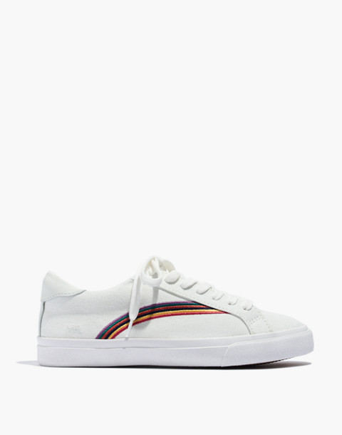 Women's Sidewalk Low-Top Sneakers in Rainbow Embroidered Canvas in off white/off white image 2