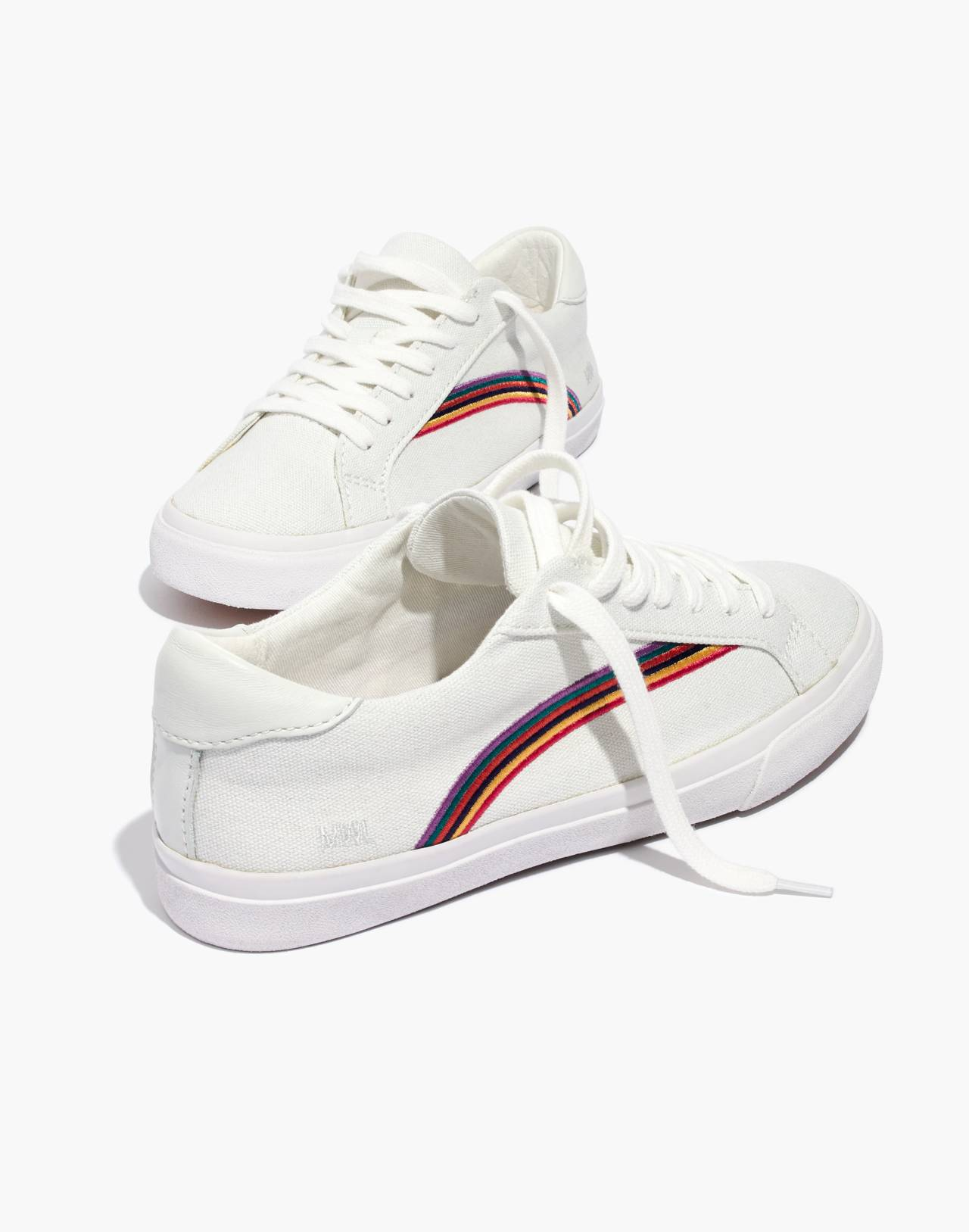 Women's Sidewalk Low-Top Sneakers in Rainbow Embroidered Canvas in off white/off white image 1