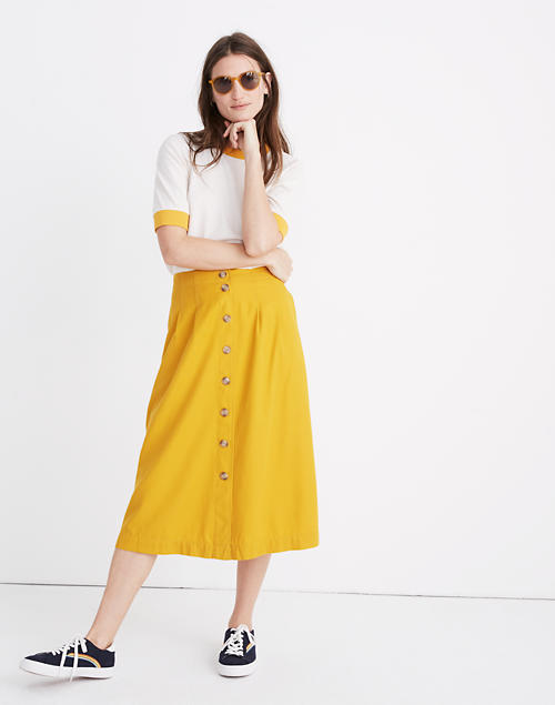 945d42b56de Patio Button-Front Midi Skirt in tungsten glow image 1