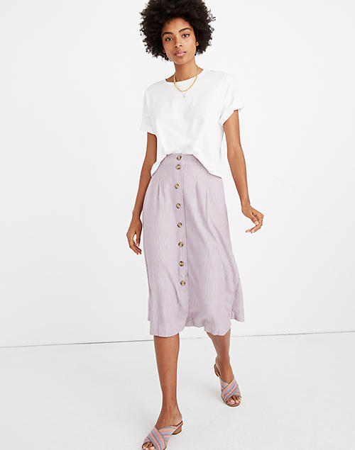 f594104445af Patio Button-Front Midi Skirt in Lilac Stripe in serine lavender renser  image 1