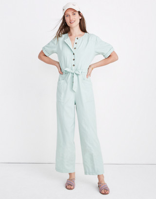 Top-Stitched Coverall Jumpsuit in sea haze image 2